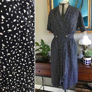 Vintage Stuart Alan Buttoned Faux Wrap Dress Black